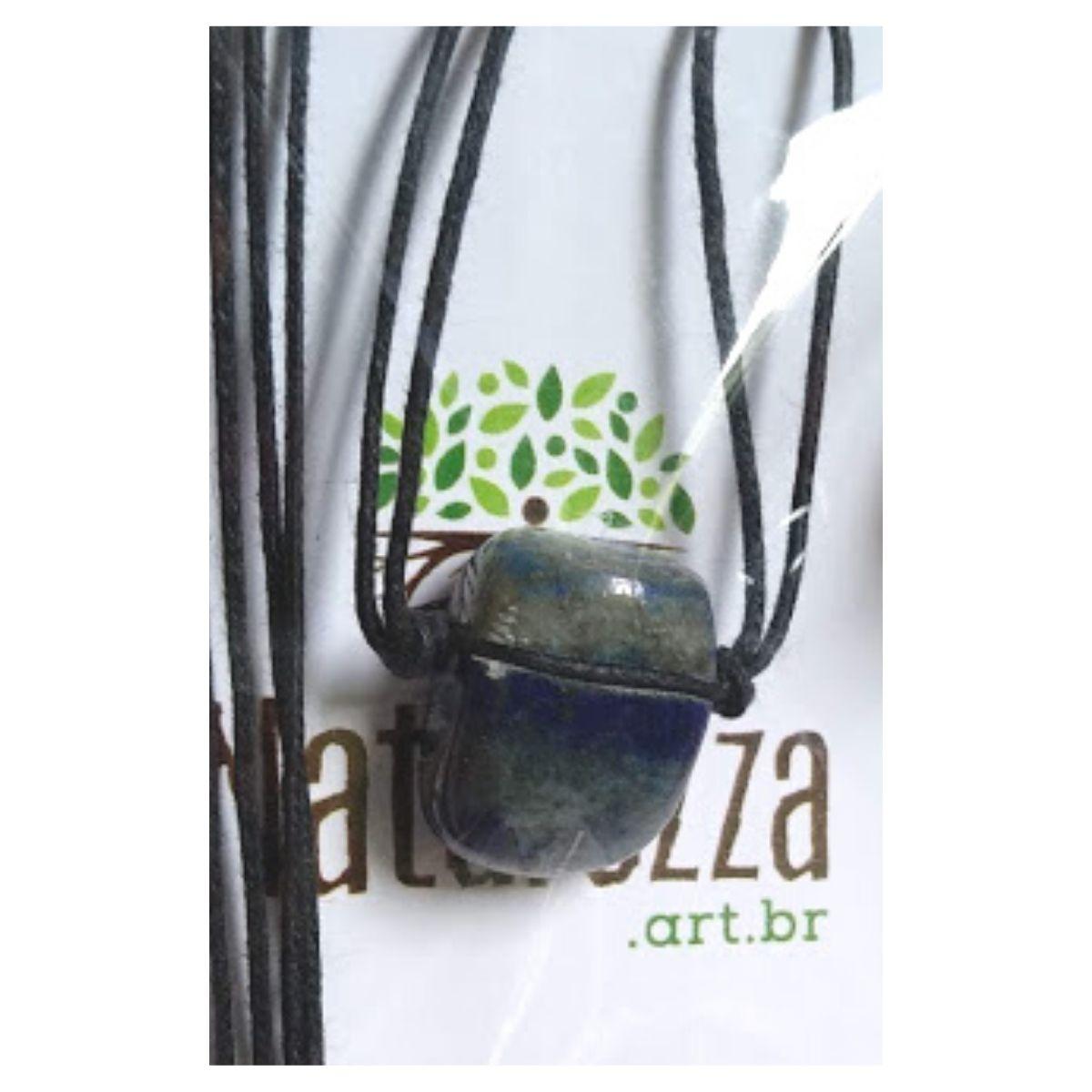 Colar de Lápis Lazúli  Pedra Rolada (Perfumeira p/ Aromaterapia / Difusor Pessoal)