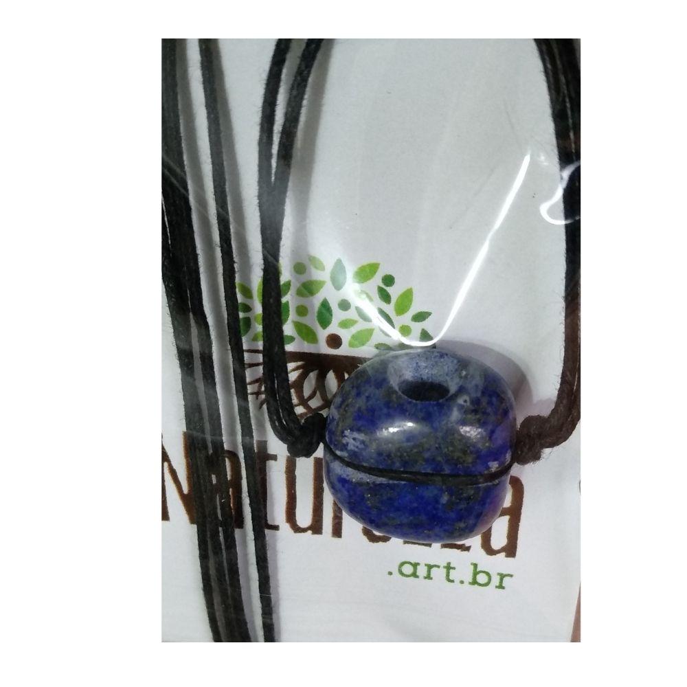 Colar de Lápis Lazúli  Pedra Rolada (Perfumeira p/ Aromaterapia ou  Difusor Pessoal)