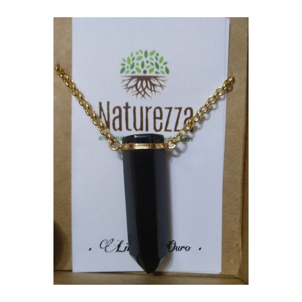 Colar de Obsidiana em Ouro (Joia e Perfumeira para Aromaterapia ou  Difusor Pessoal)