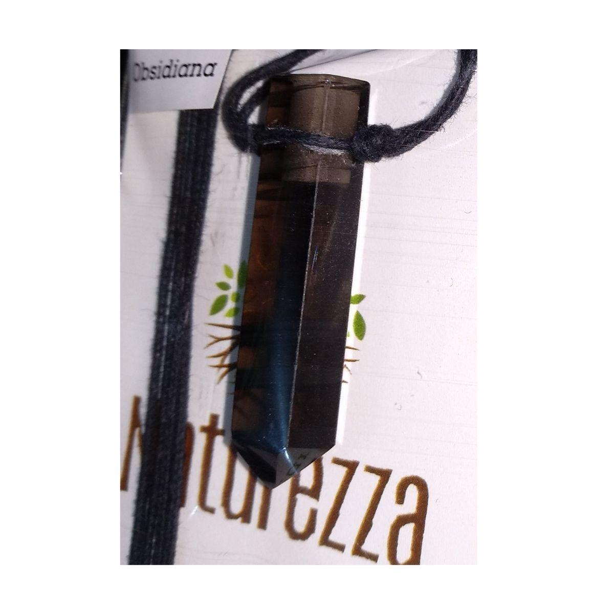 Colar de Obsidiana Lágrima de  Apache  c/ cordão de algodão ( Perfumeira para Aromaterapia ou  Difusor Pessoal)
