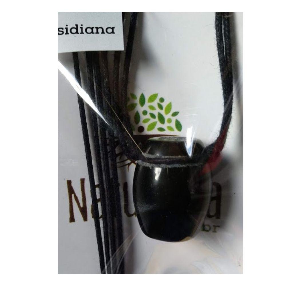 Colar de Obsidiana Tamborzinho (Perfumeira p/ Aromaterapia ou  Difusor Pessoal)