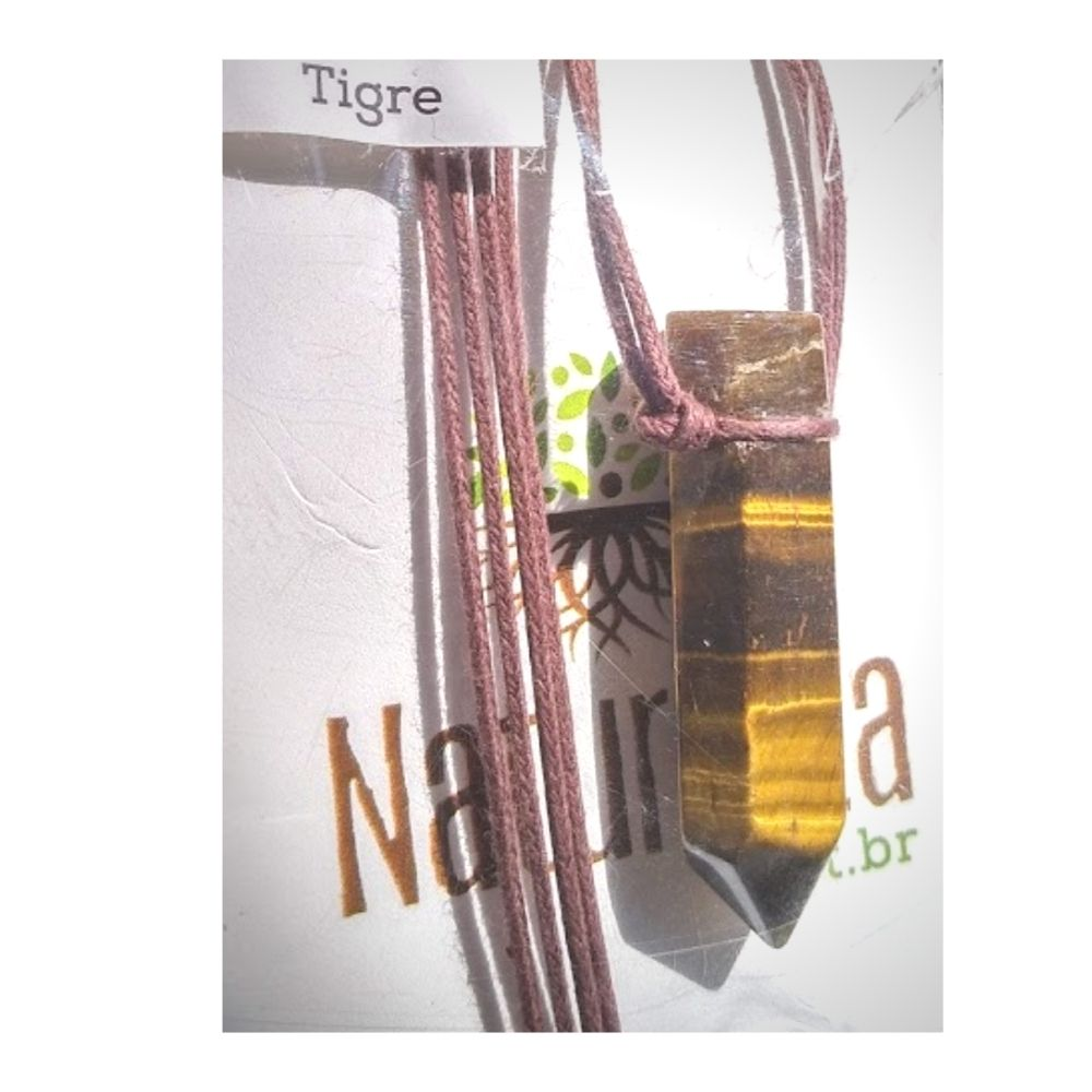 Colar de Olho de Tigre  c/ cordão de algodão (Perfumeira p/ Aromaterapia ou Difusor Pessoal)