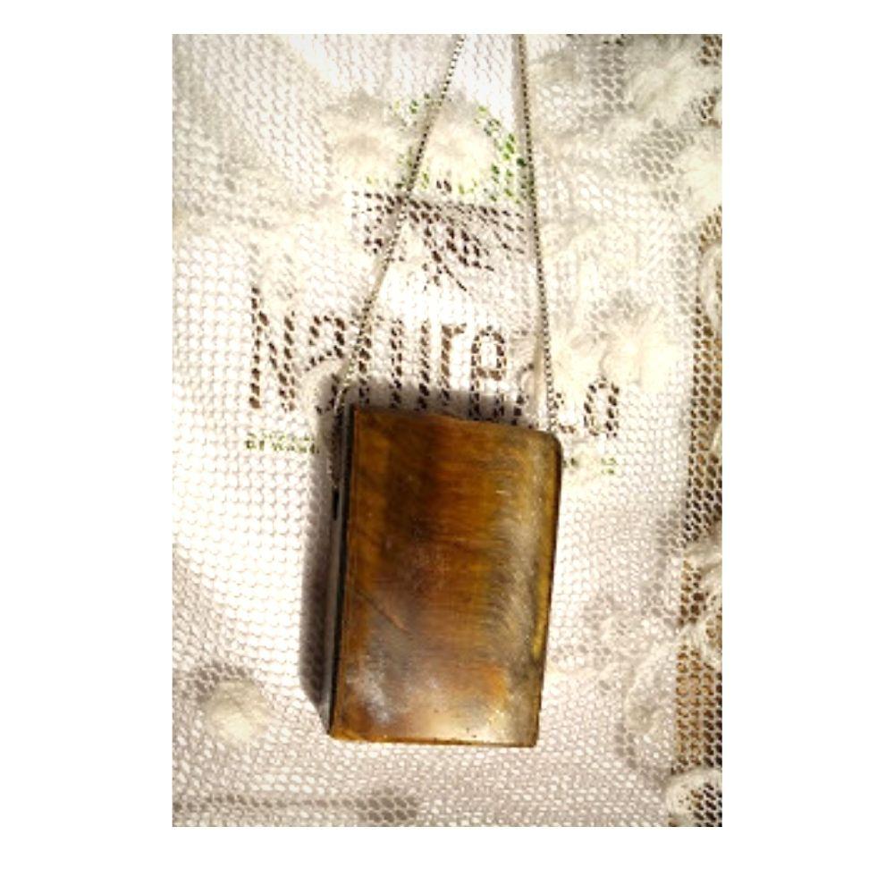 Colar de Olho de Tigre  c/ corrente de  prata ( Perfumeira p/ Aromaterapia ou  Difusor Pessoal) minimalista
