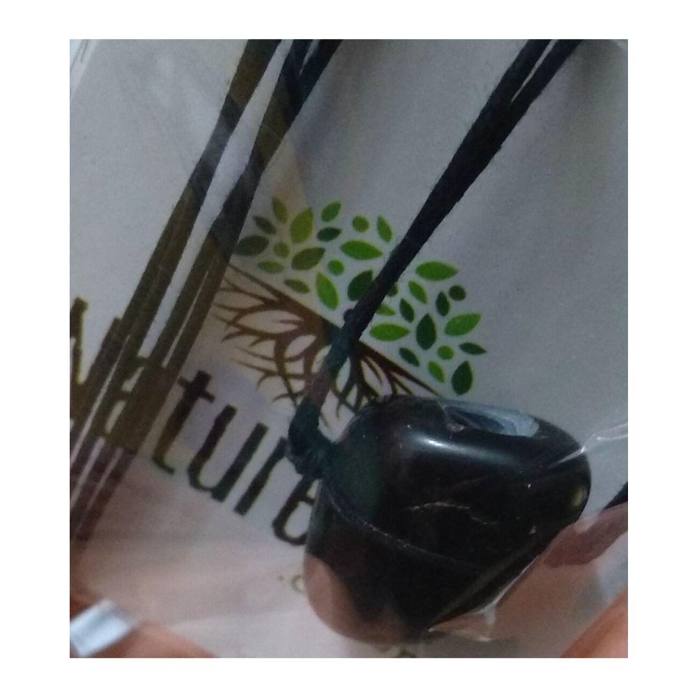 Colar de Ônix Pedra Rolada (Perfumeira p/ Aromaterapia ou  Difusor Pessoal)