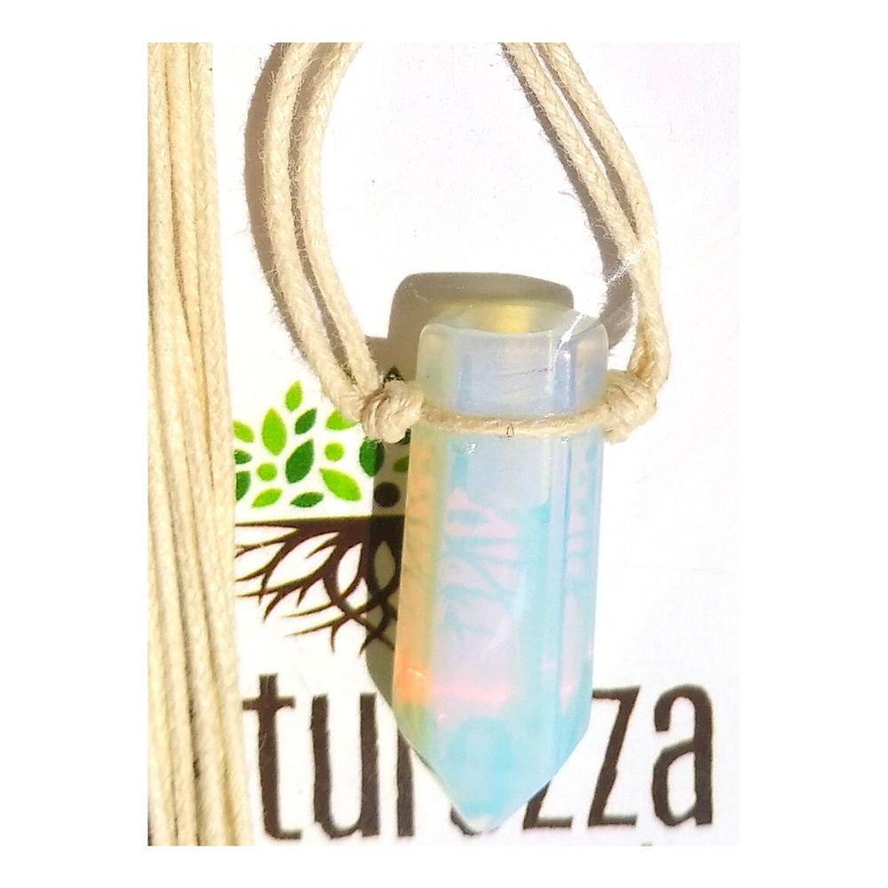 Colar de Pedra da Lua  c/ cordão de algodão (Perfumeira p/ Aromaterapia ou Difusor Pessoal)
