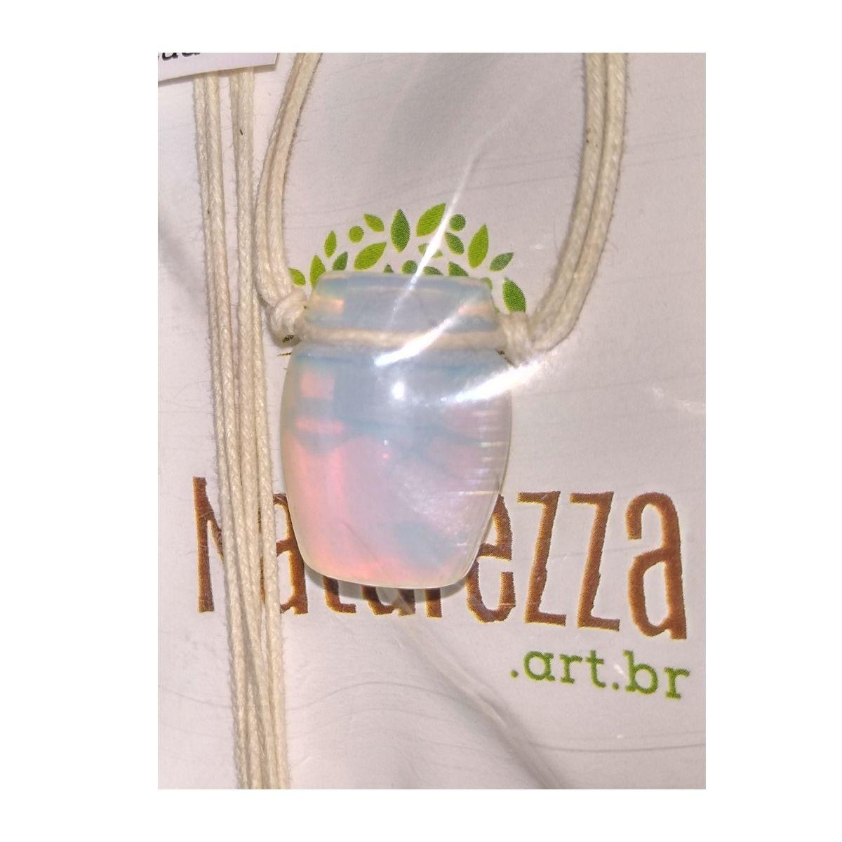 Colar de Pedra da Lua  Tamborzinho (Perfumeira p/ Aromaterapia ou  Difusor Pessoal)