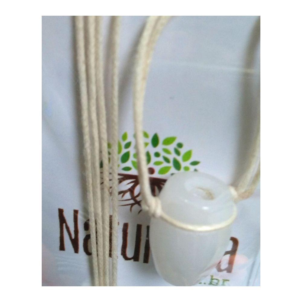 Colar de Quartzo Branco Tamborzinho (Perfumeira p/ Aromaterapia ou  Difusor Pessoal)