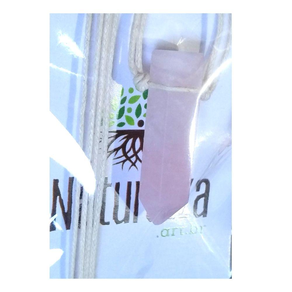 Colar de Quartzo Rosa  c/ cordão de algodão ( Perfumeira p/ Aromaterapia ou  Difusor Pessoal)