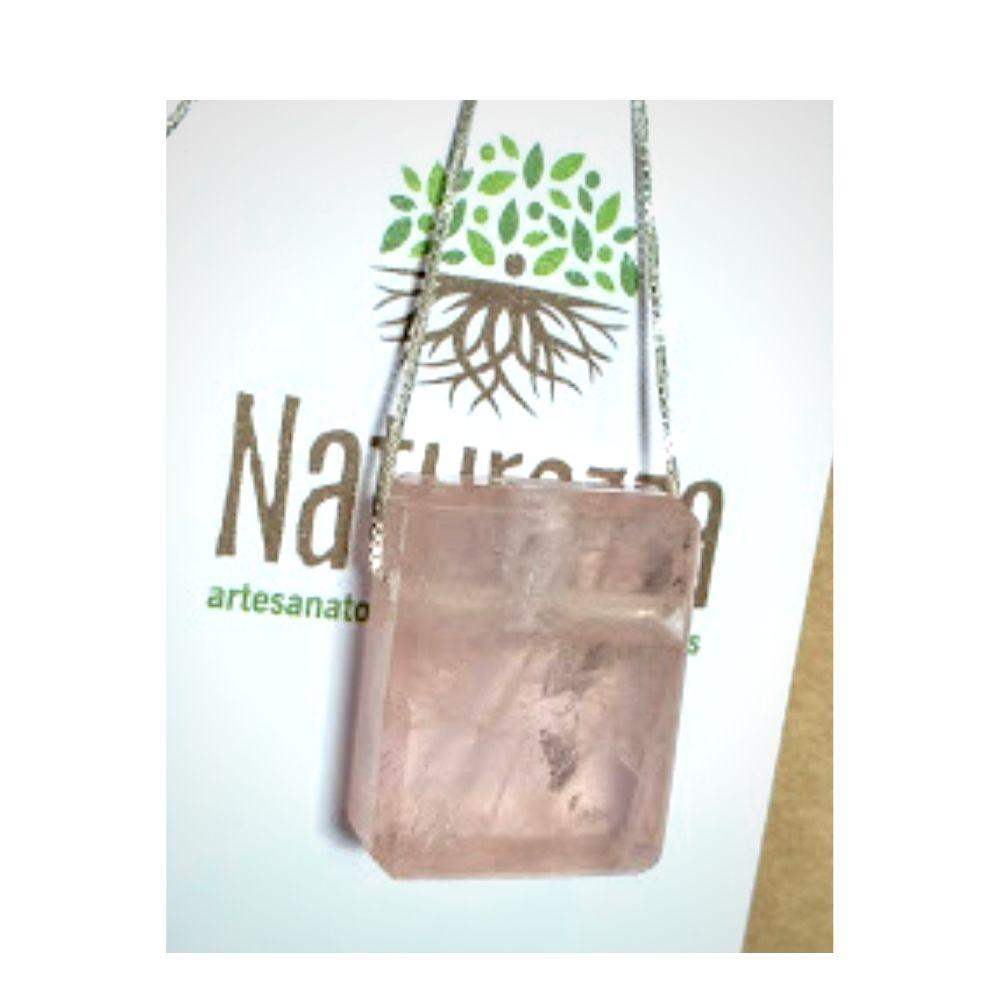 Colar de Quartzo Rosa c/ corrente de prata (Perfumeira para Aromaterapia ou  Difusor Pessoal) Naturezza - Minimalista