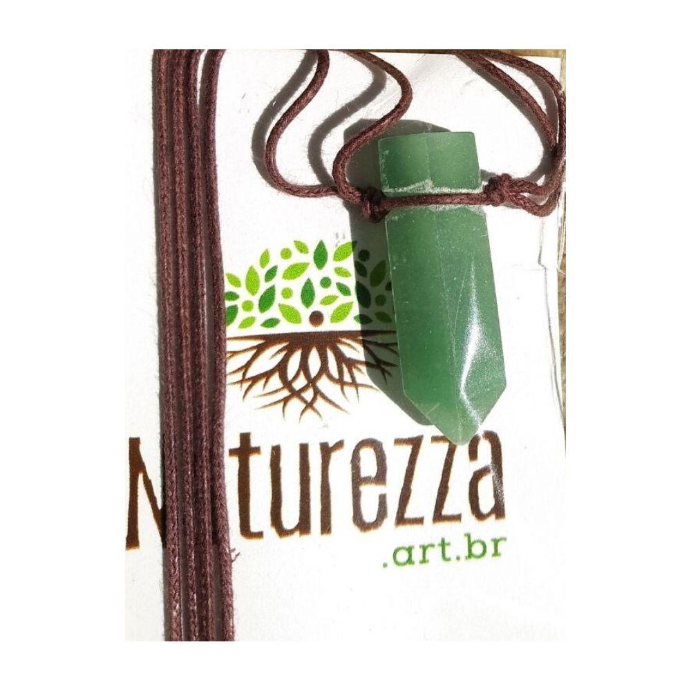 Colar de Quartzo Verde  c/ cordão de algodão (Perfumeira p/ Aromaterapia ou Difusor Pessoal)