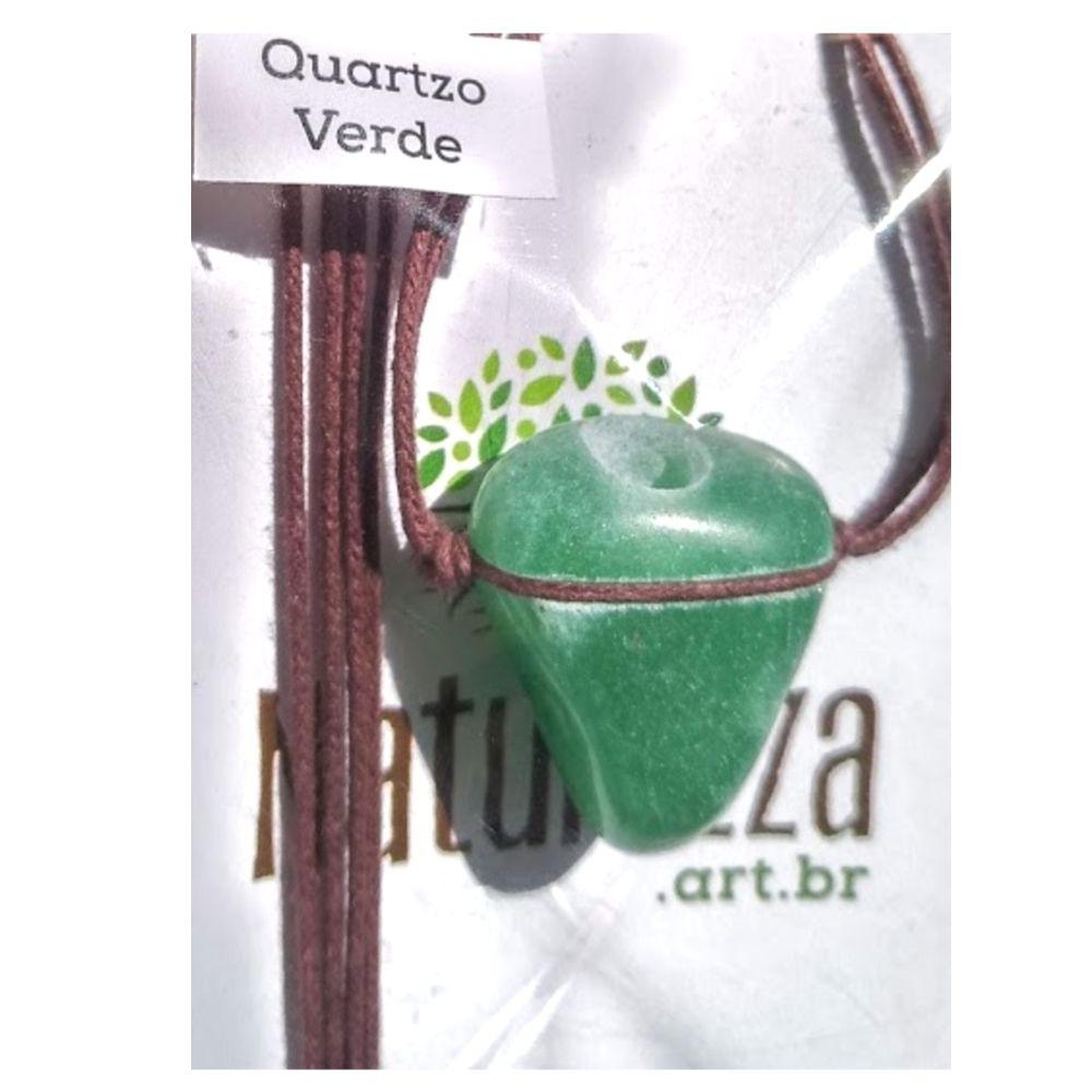 Colar de Quartzo Verde Pedra rolada  (Perfumeira p/ Aromaterapia ou  Difusor Pessoal)