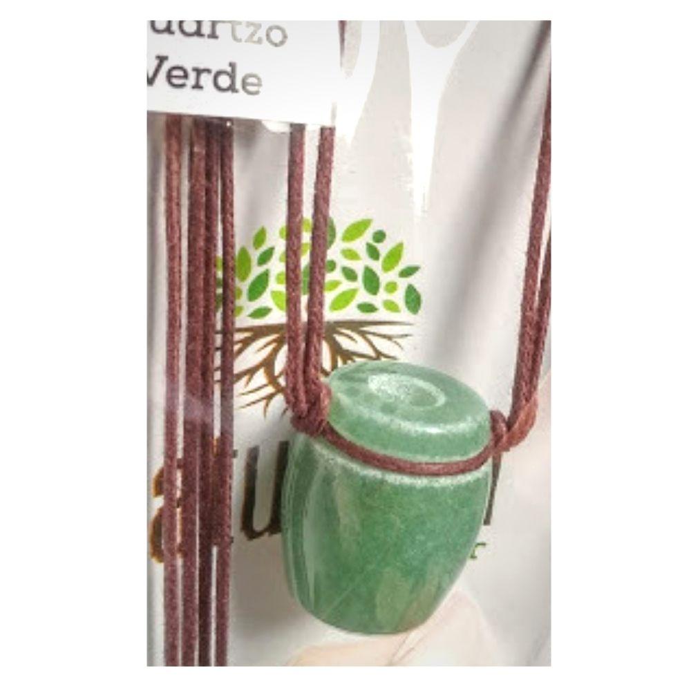 Colar de Quartzo Verde Tamborzinho (Perfumeira p/ Aromaterapia ou  Difusor Pessoal)
