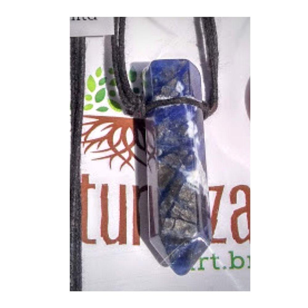Colar de Sodalita c/cordão de algodão (Perfumeira para Aromaterapia ou Difusor Pessoal)
