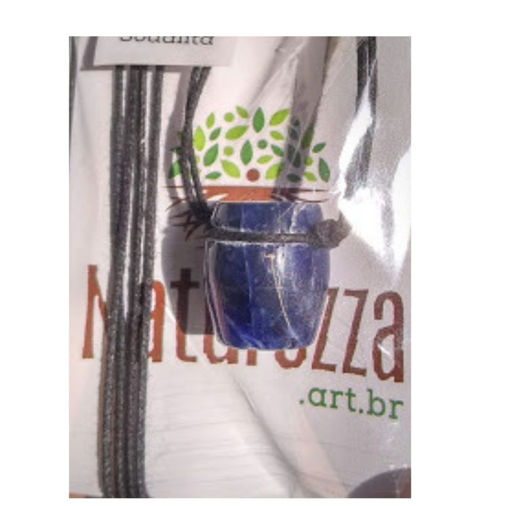 Colar de Sodalita Tamborzinho (Perfumeira p/ Aromaterapia ou  Difusor Pessoal)