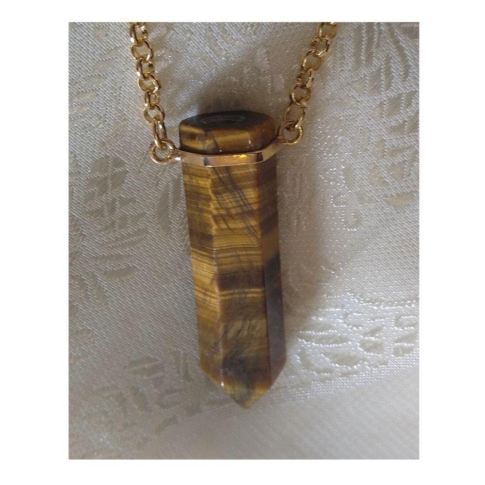 Colar Olho de Tigre  c/ corrente banhado em ouro (Perfumeira para Aromaterapia ou  Difusor Pessoal)