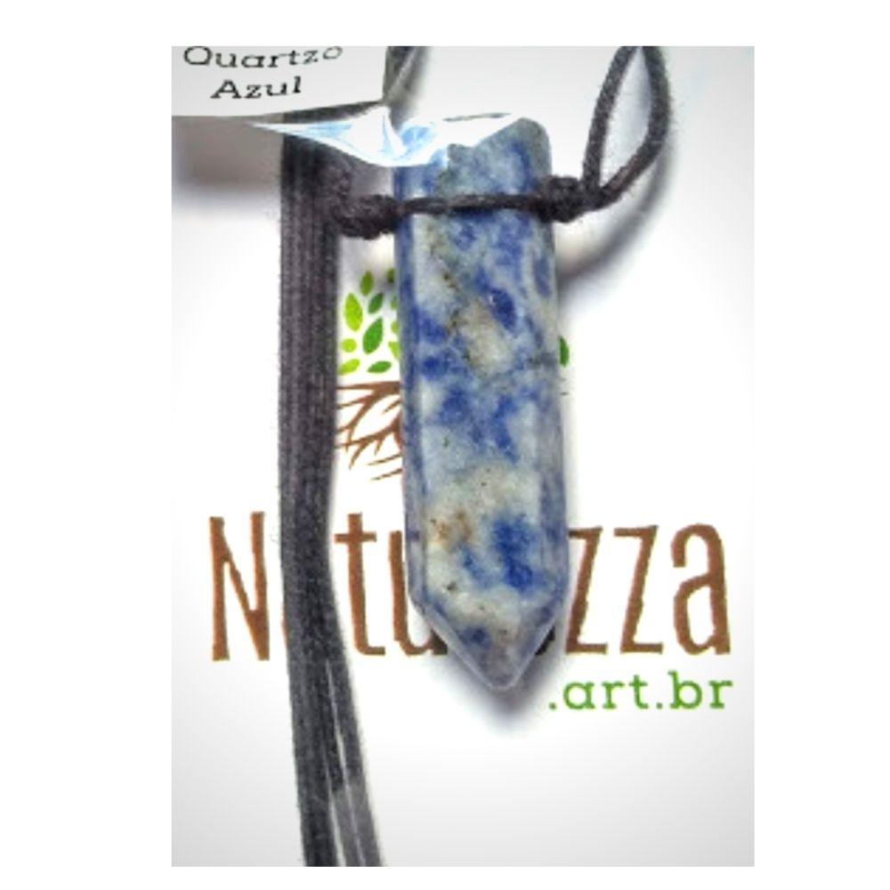 Colar Quartzo Azul  formato de ponta  (Perfumeira p/ Aromaterapia ou  Difusor Pessoal)