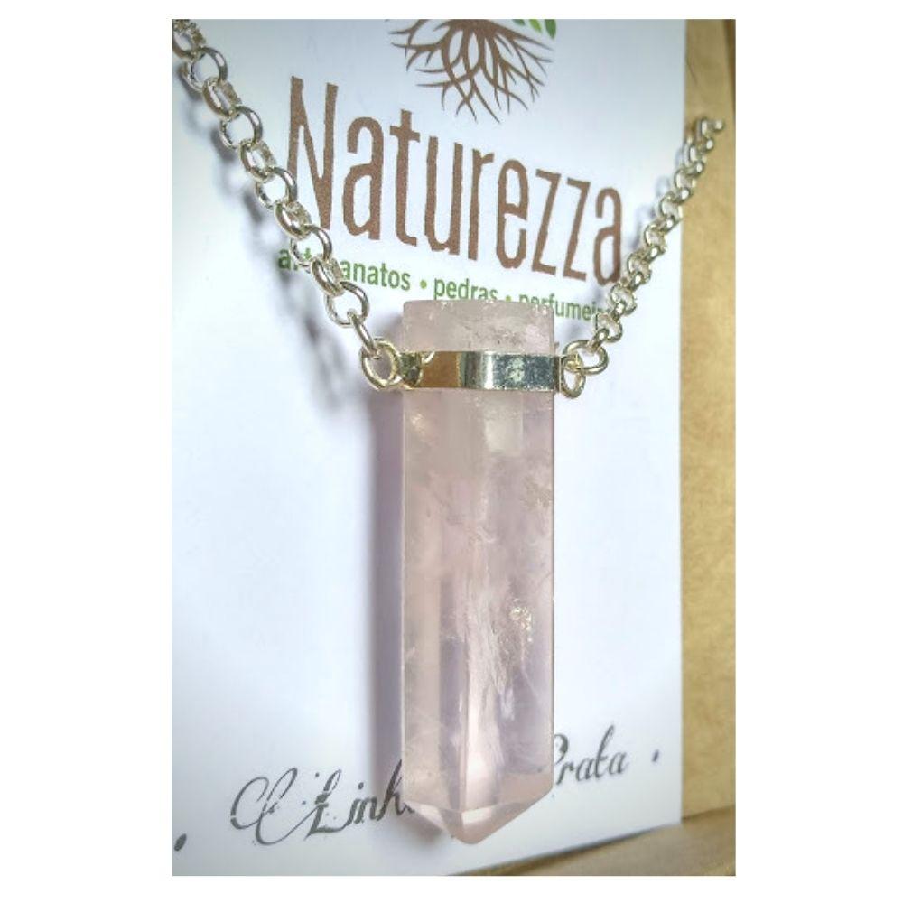 Colar Quartzo Rosa  e Prata ( Perfumeira para Aromaterapia ou  Difusor Pessoal)