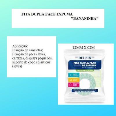 Fita Dupla Face de Espuma - Delfix -12mmx2m- Bananinha