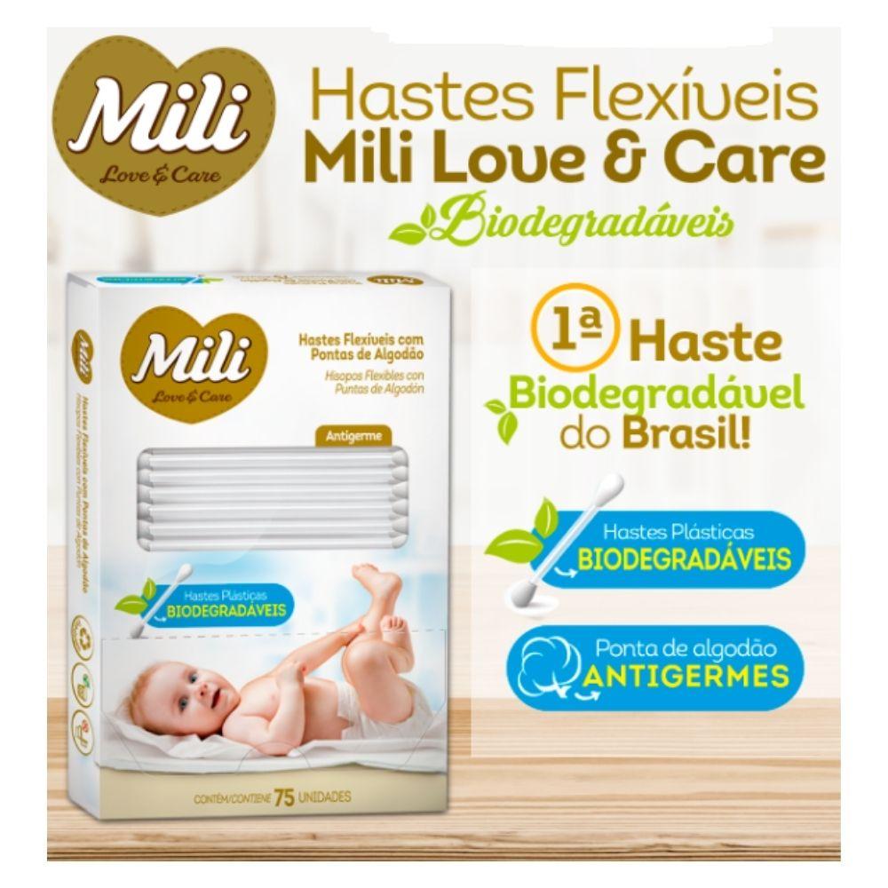 Cotonete Hastes Flexiveis 3 caixas c/ 75 unidades Biodegradável - MILI  (total: 225 hastes)