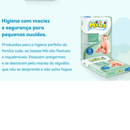 Cotonete Hastes Flexiveis - com Pontas de Algodão  - Mili - 75 Hastes