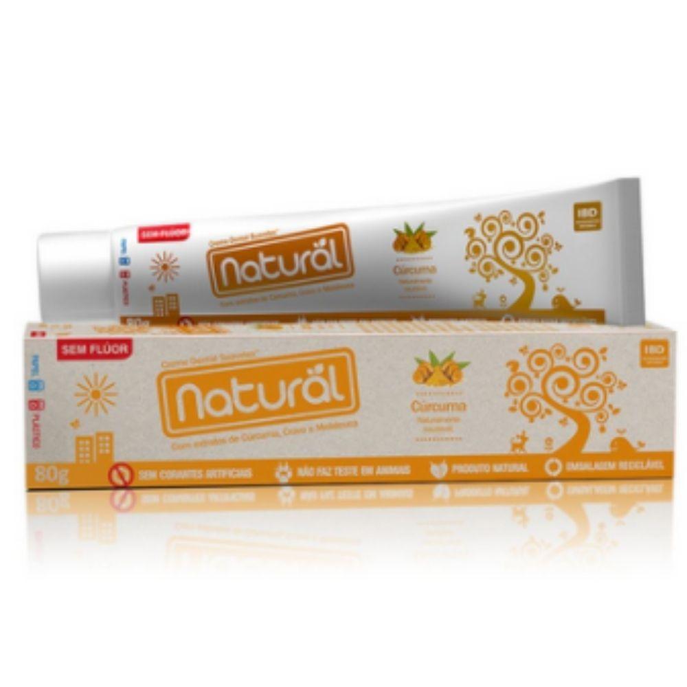 Creme Dental Natural Vegano c/ Extratos de Cúrcuma, Cravo e Melaleuca. 80g Suavetex Sem Flúor
