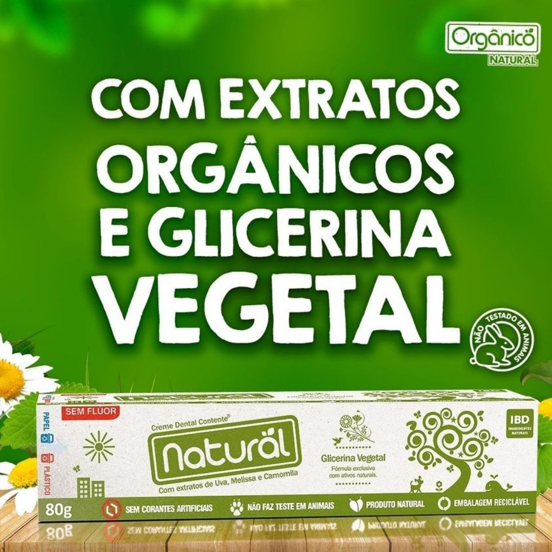 Creme Dental Suavetex Natural com ingredientes orgânicos e naturais 80g -   3 caixas