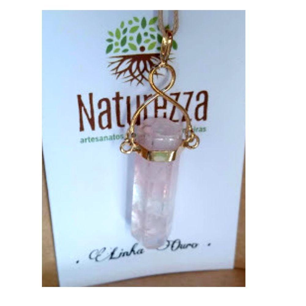 Difusor Aromatizador para óleo essencial  Pingente Quartzo Rosa c/ suporte folheado a Ouro