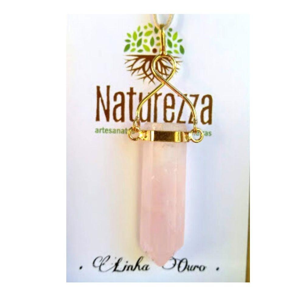 Difusor Aromatizador Pingente Quartzo Rosa c/ suporte folheado a Ouro ( Difusor Pessoal para óleo essencial)