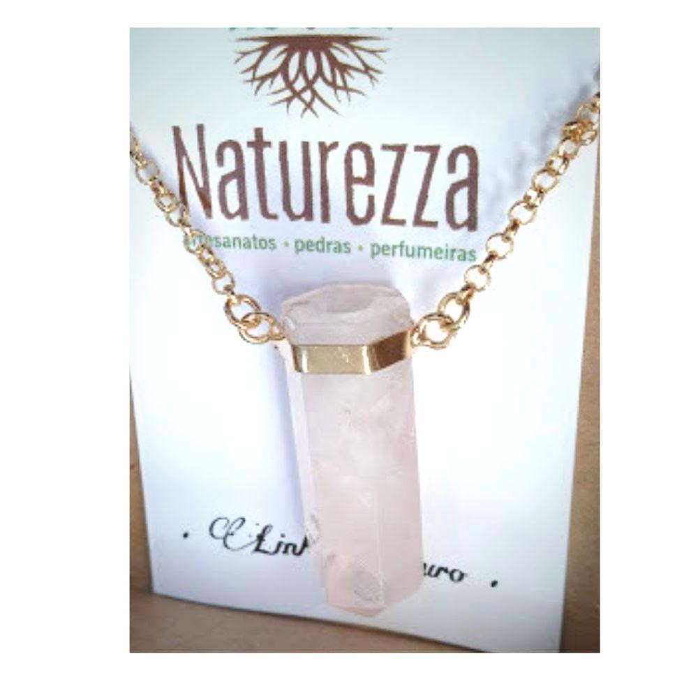 Difusor Pessoal / Aromatizador Colar Quartzo Rosa folheado a Ouro ( p/ óleo essencial)