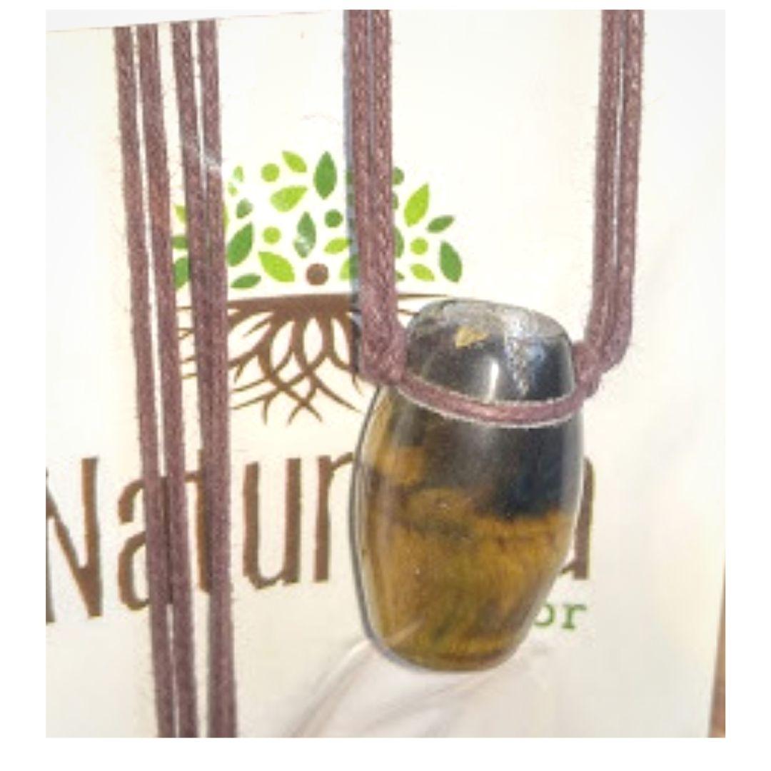 Difusor Pessoal Colar de Olho de Tigre c/ cordão de algodão crú em formato de  Tamborzinho (Perfumeira p/ Aromaterapia) Naturezza