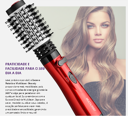 Escova Rotativa Beauty 1000W Vermelha 220V  Multilaser