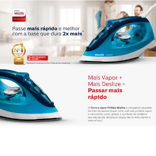 Ferro a Vapor 2000W 110V Daily RI1436/22 AZUL Philips Walita