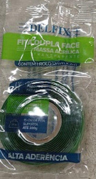 Fita Dupla Face- Gel- Transparente- Alta Aderência - Delfix - 15mmx2m