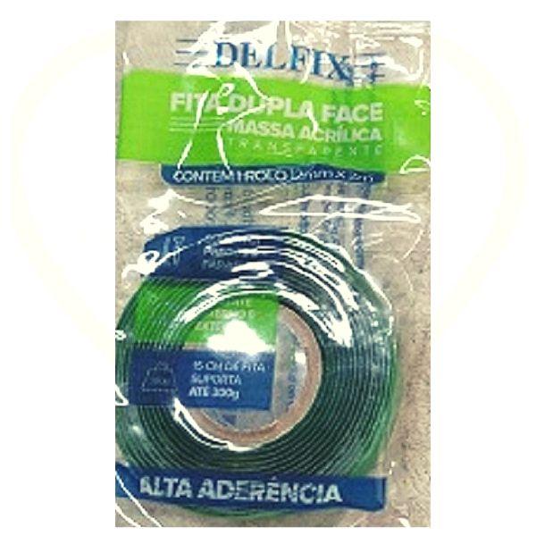 Fita Dupla Face- Gel- Transparente- Alta Aderência - Delfix - 15mmx2m- 5 rolos
