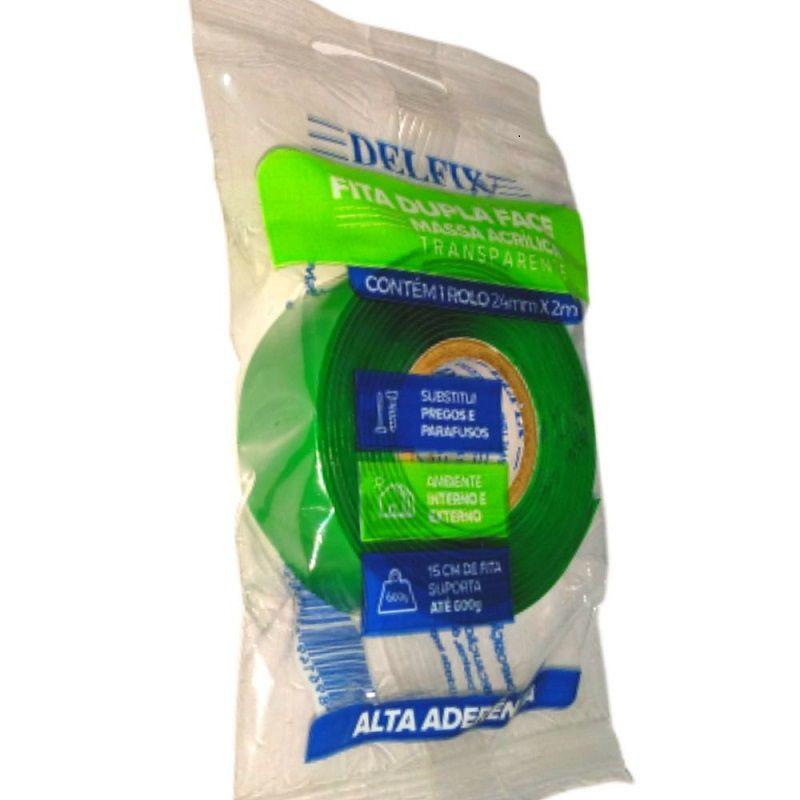 Fita Dupla Face- Gel- Transparente- Alta Aderência - Delfix - 24mm x 2m
