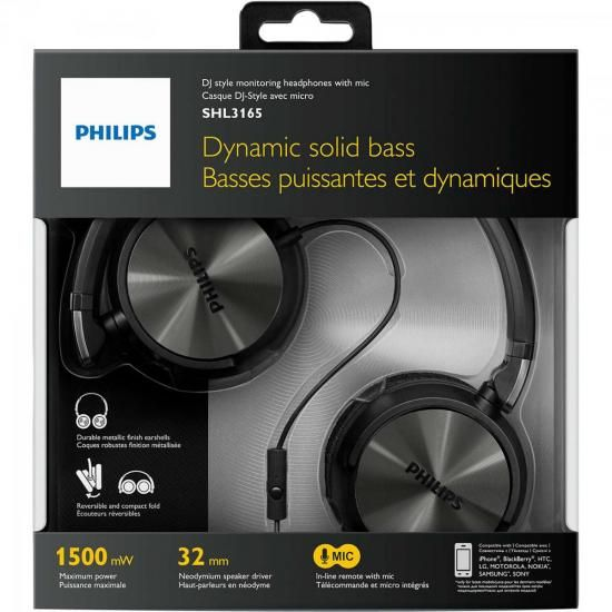Fone de Ouvido Estilo DJ com Graves Nitidos e Microfone Integrado SHL3165BK/00 Preto Philips