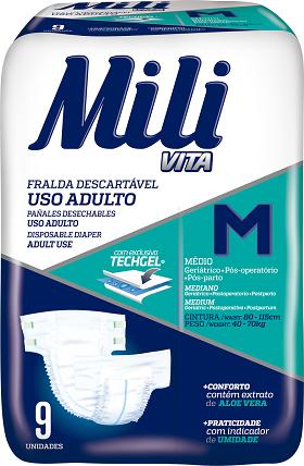 Fralda de uso Adulto Mili VITA- Tam: M - 45 Fraldas