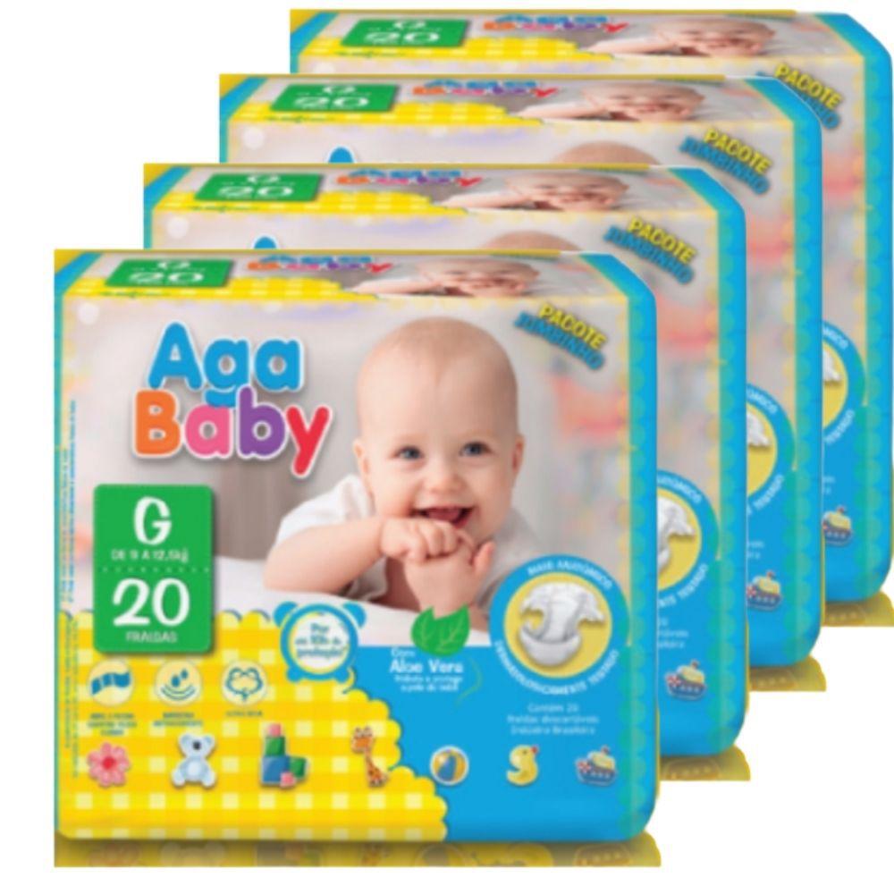 Fralda Descartável Infantil - Aga Baby - Tam G - 4 pacotes c/ 20(total:80 unidades)