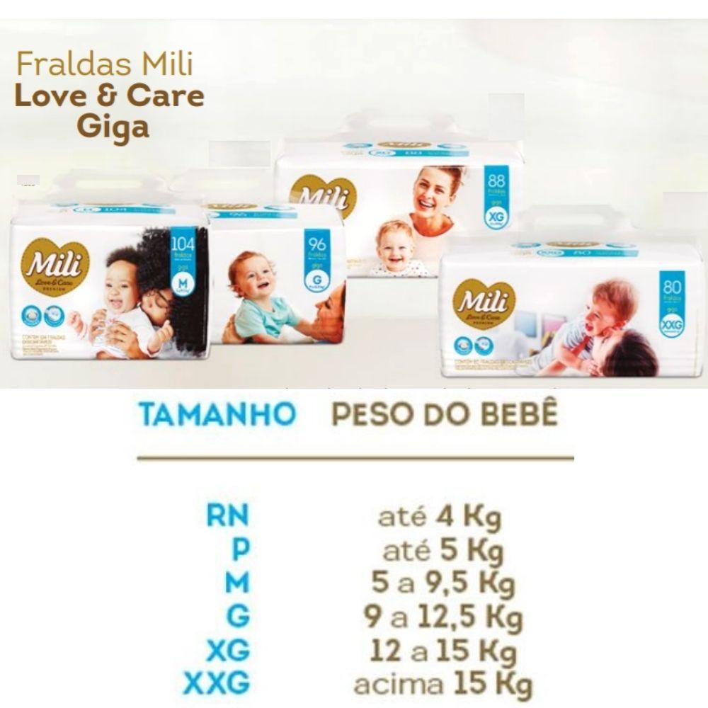 Fralda Descartável Mili Giga Love & Care Premium   Tam: XG - 88 fraldas