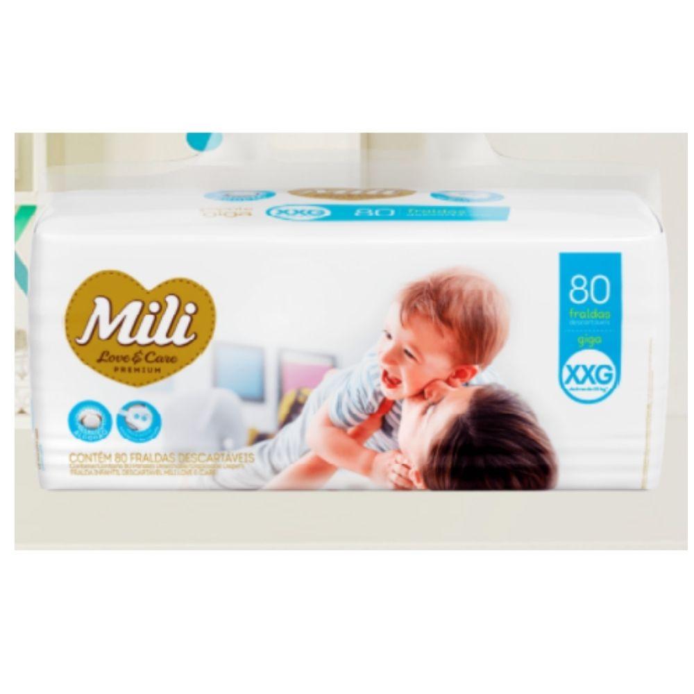 Fralda Descartável Mili Giga Love & Care Premium   Tam: XXG - 80 fraldas