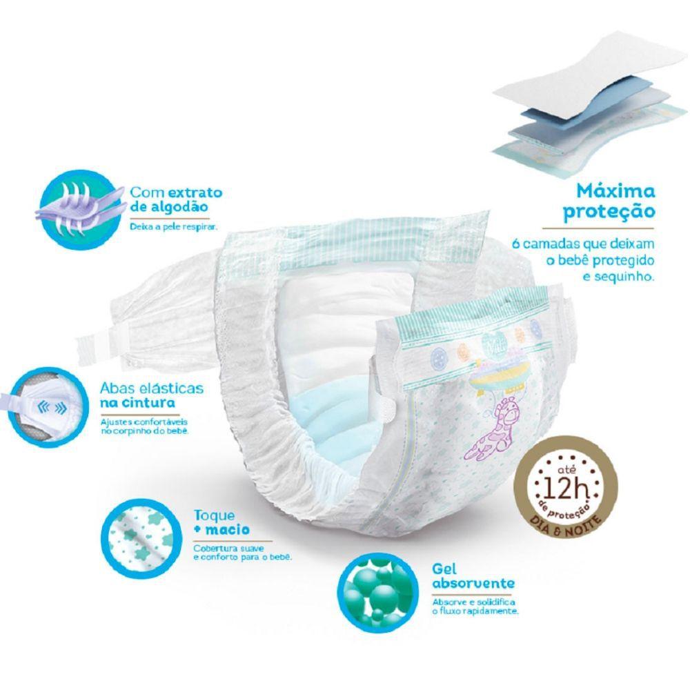 Fralda Descartável MILI Love Care Tam: RN Recém nascido  120 Fraldas c/  Super Gel Proteção Dia e Noite