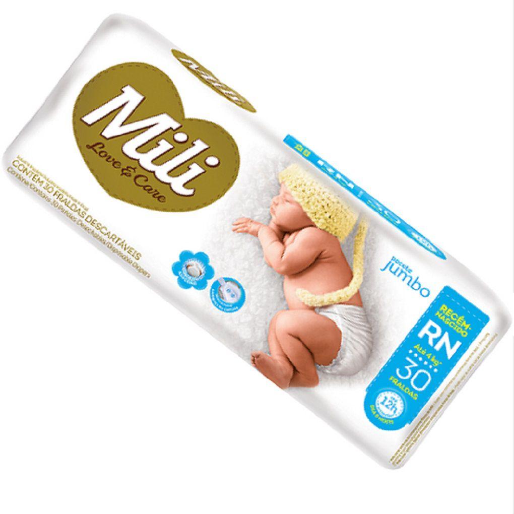 Fralda Descartável MILI Love Care Tamanho RN Recém nascido  120 Fraldas com Super Gel Proteção Dia e Noite