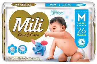 Fralda Descartável Mili - Love & Care - Linha Premiun - Tamanho M - 3 Pacotes - 78 fraldas