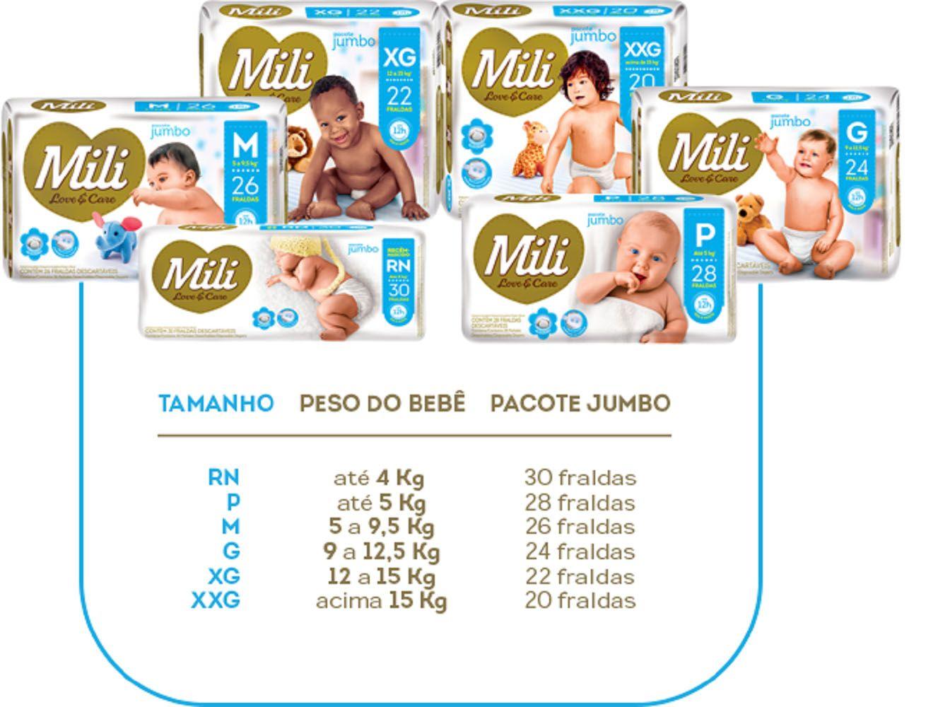 Fralda Descartável Mili- Love & Care - Linha Premiun- Tamanho P- 9 Pacotes (total 252 fraldas)