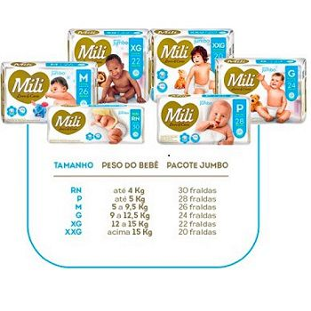 Fralda Descartável Mili - Love & Care - Linha Premiun - Tamanho P- 4  Pacotes c/28 (total 112 fraldas)