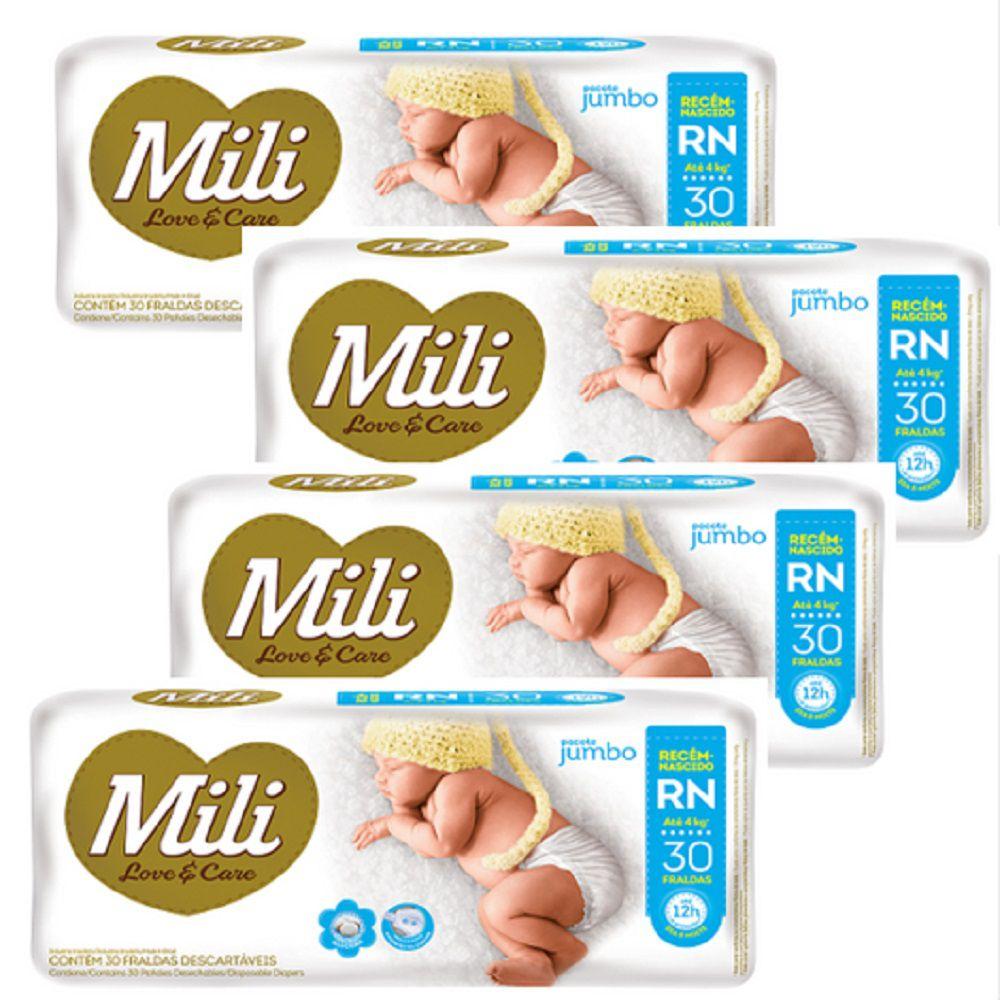 Fralda Descartável Mili  Love & Care  Tam: RN (Recém nascido)    120 fraldas  (4 Pacotes de 30 undiades)