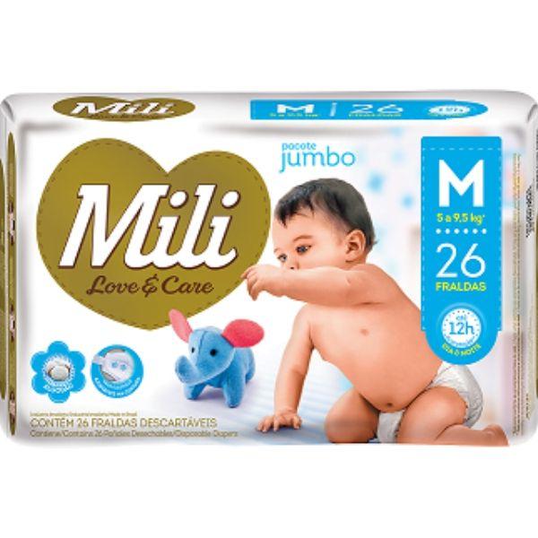 Fralda Descartável Mili- Love& Care Linha Premiun Tam: M  5Pacotes c/26  (total=130 Fraldas)