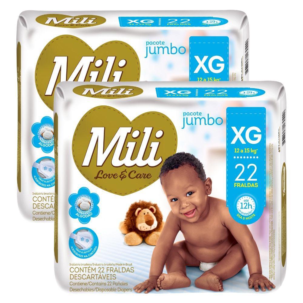 Fralda Descartável Mili  Love& Care- Linha Premiun- Tamanho XG  2 Pacotes com 22 fraldas