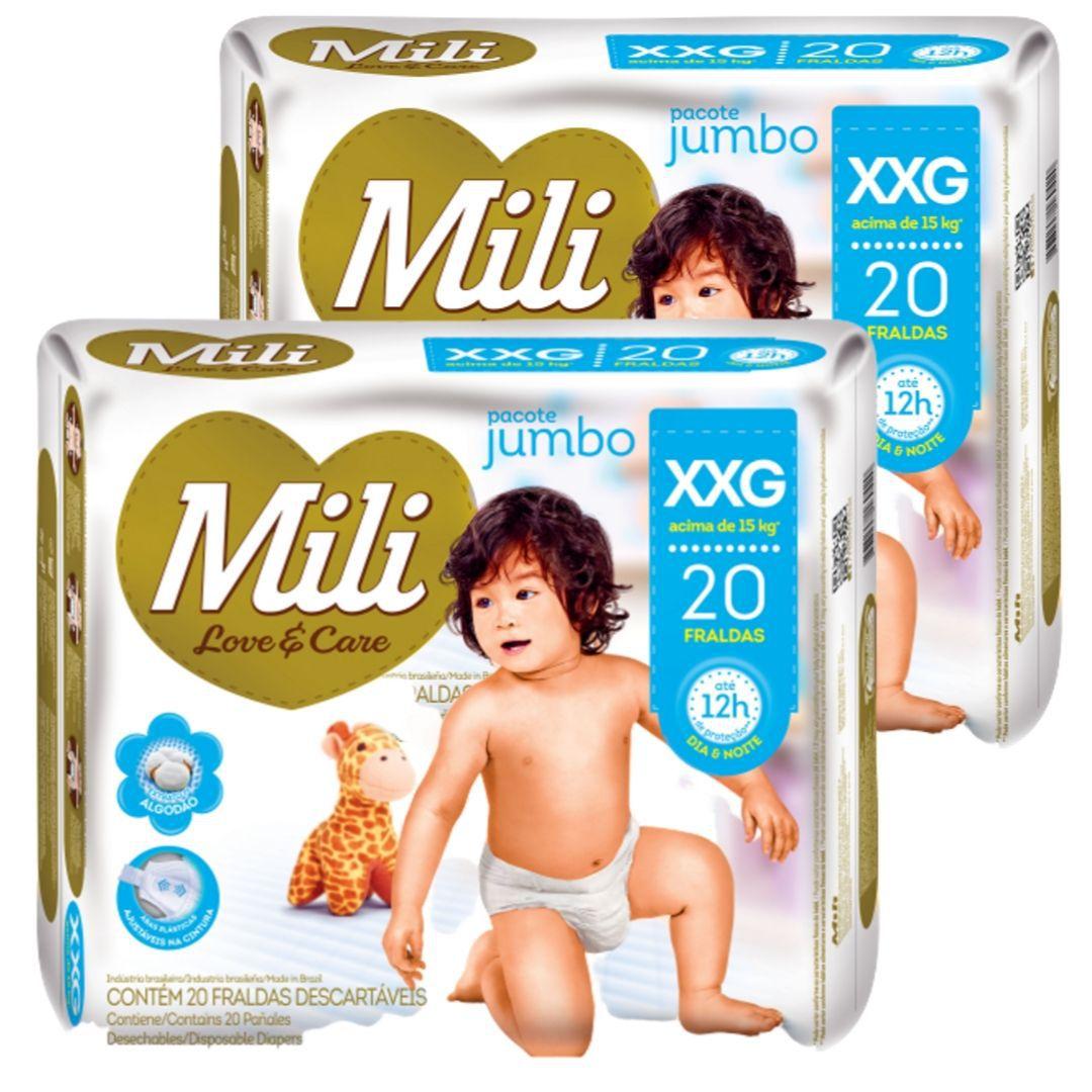 Fralda Descartável Mili   Love& Care- Linha Premiun- Tamanho XXG-2 Pacotes (total: 40 fraldas)