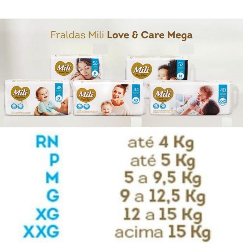Fralda Descartável Mili Mega Love&Care Tam: M - 2 Pacotes c/52 fraldas (Total: 104 fraldas)
